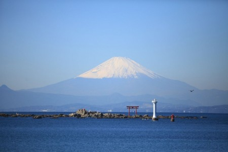 View Mt. Fuji from Hayama, where the imperial villa stands