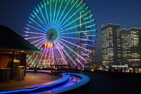 The light of Yokohama's twilight, shining from beyond illuminated buildings