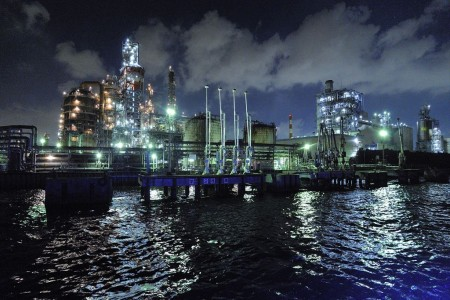 Cảnh đêm nhà máy Kawasaki, du thuyền Yakatabune