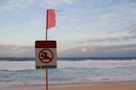 今年神奈川沒有開放海水浴場。請勿游泳!