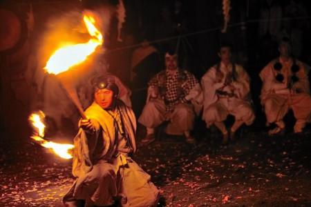 Das Hibuse (Brandschutz) Festival in Ryogakuin, Berg Akihasan