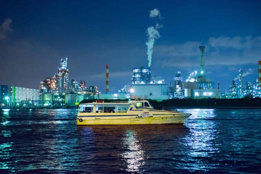 Vue nocturne de l'usine de Keihin et croisière Minato Mirai - 1