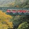 Deyama Eisen Brücke und Hayakawa Bach im Herbst