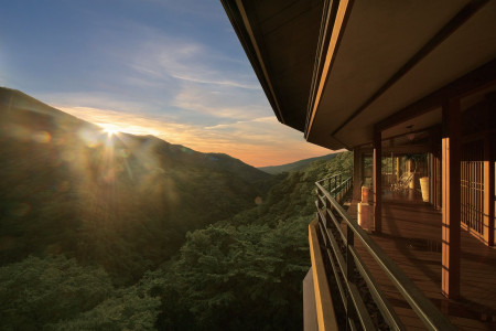 Mountain views from a luxury ryokan